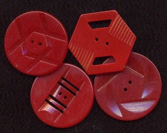 Buttons Vintage Group of 4 Red Bakelite/Plastic