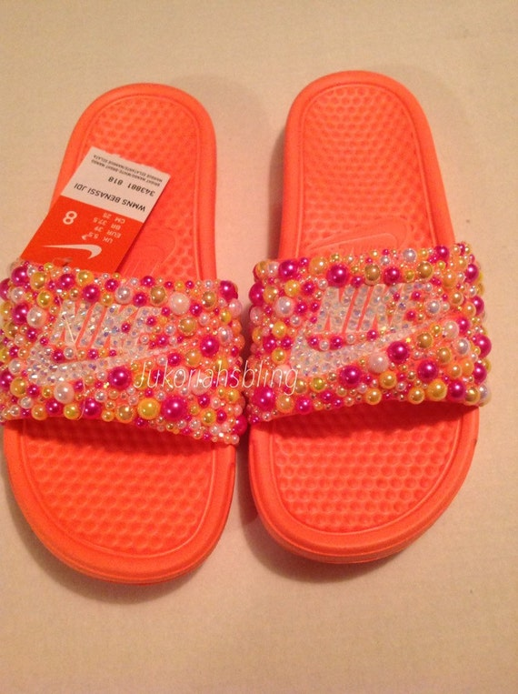 abcbd1a86b1030 outlet Bling nike slides nike shoes accessories by Jukoriahsbling on Etsy