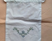 Hand embroidered work bags, ideal as sewing or shoe bags white cotton floral pattern Regency design