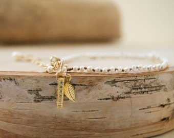 Dainty Hand Knotted Pearl Bracelet/ Dainty Pearl Charm Bracelet/ Dainty Charm Bracelet/ Dainty Gifts for Her/ Handcrafted Dainty Bracelets