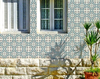 TANGIER Tile Stencil - 3 LAYER Mediterranean Furniture Floor Wall Tile Stencil - TA003