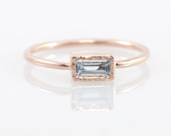 Aquamarine engagement ring in 14k rose gold, rectangular gemstone ring, solid 14k gold jewelry, made in Your size