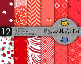 "Red digital papers. Red Scrapbook. Red Patterns. Red chevron, Red polka dots. Commercial use. 12 papers model ""Lovely Red""."