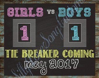 Tie Breaker 3rd Baby Printable Sign! Your Choice of Size! DIGITAL FILE - Fun way to announce pregnancy!