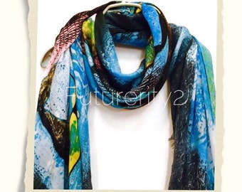 Cashmere Scarf Geometric Prints Ocean Blue Spring Summer / Autumn Scarf / Gift For Her / Womens Scarves / Fashion Accessories