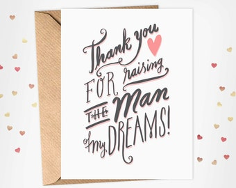 Mother in Law Card - Thank You For Raising The Man of My Dreams - Mother's Day Card