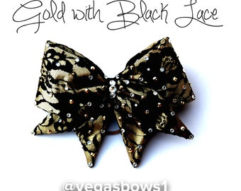 Gold Bow Black Lace over