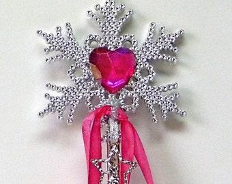 FAIRY WAND PINK Princess Costume Wand Fairy Charm Heart Wand Childrens Fairy Wand Celestial Wand Glittery Wand