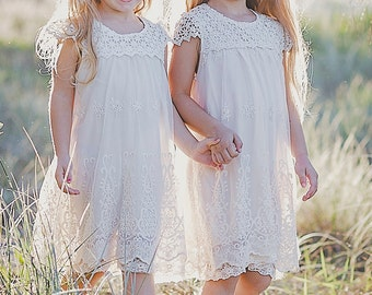 Macy Vintage White or Ivory Bridal Flower Girl Communion Wedding Princess Bridal Bridesmaid Dress First Communion Dress Flower Girl Dress