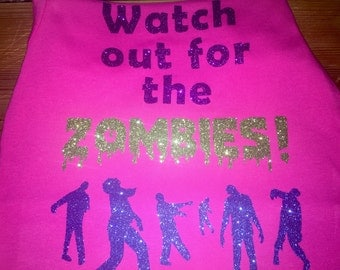 Baby Infant Toddler Girls Halloween Watch Out For The Zombies Silhouette Glitter Vinyl Boutique Shirt Tshirt  2 3 4 6 8 10