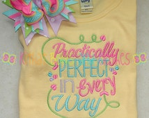 Practically Perfect In Every Way Embroidered Shirt and Matching Hairbow