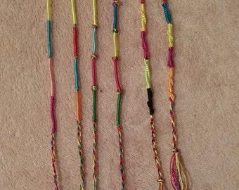 grab bag set of 5 silky shiny friendship bracelets/anklets