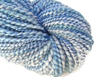Hand dyed and hand spun spiral plied yarn with beads, art yarn, bulky  weight, 206 yards,