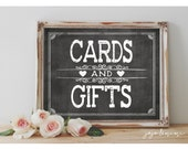 Instant 'CARDS AND GIFTS' Printable Event Sign Wedding Baby Shower Party Printable Chalkboard Size Options