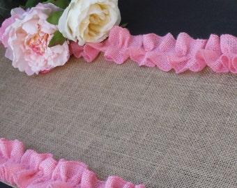 Rustic Burlap Table Runner with pink ruffled edge