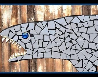 Free Shipping, Tile Mosaic Shark Sculpture, mosaics, outdoor mosaics, san jose shark, swimming pool decor