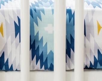 Blue Aztec Crib Sheet | Wander in Blue Crib Collection