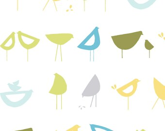 Little Birds Blue, Havanna Collection by Monaluna Organic Fabrics 3027