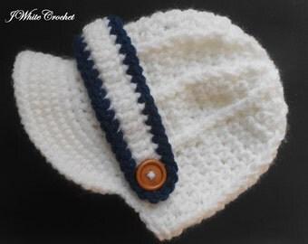 White/navy Newborn baby hat ,Crochet newsboy hat , crochet baby boy hat, crochet girl hat, newborn baby hat, crochet baby hat