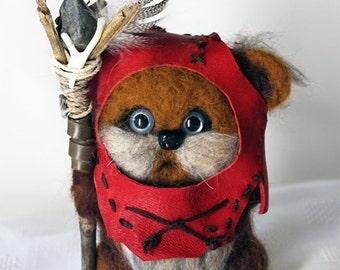 Handmade Wool Needle Felted Ewok *Widdle Warrick*