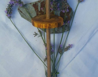 Handcrafted natural foraged wood drop spindle handspinning perfect for handspun wool, easy to use