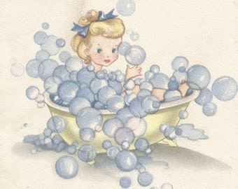 Vintage children's child greeting card I'm all in a Lather bathtub tub bubbles bath digital download printable instant image