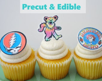 Grateful Dead Cupcake Topper, Grateflul Dead Bear, Jerry Garcia cupcake, cake topper, Grateful Dead birthday,  precut, Edible image
