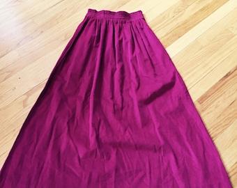 Vintage raspberry long corduroy skirt, extra small – small