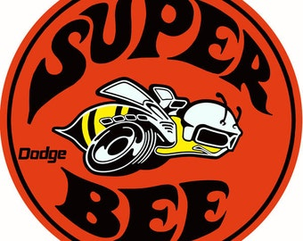 """Reproduction Dodge Super Bee Sign 14"""" round RG4883"""