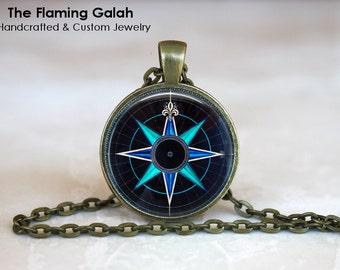 BLUE COMPASS ROSE Pendant • Vintage Compass • Travel Gift • Globe Trotter • Nautical Gift • Gift Under 20 • Made in Australia (P0804)