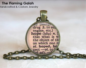 HOPE DEFINITION Pendant • Virtue Pendant • Vintage Dictionary • Definition Jewellery • Gift Under 20 • Made in Australia (P1068)