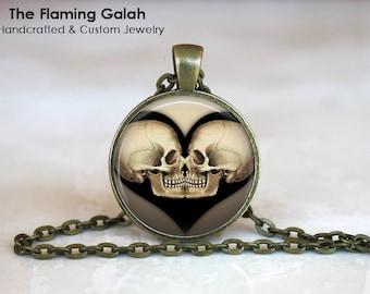 SKULL HEART Pendant • Gothic Skull • Gothic Skull Art • Skull Jewelry • Valentines • Gift Under 20 • Made in Australia (P0502)