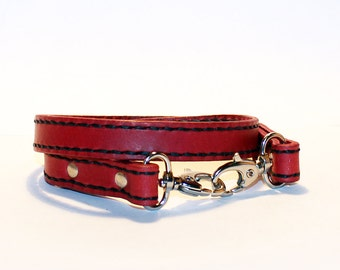 Leather lanyard, hand cut, hand stitched, Keychain, Key Holder, Leather Keychain, Leather Id Badge Lanyard. Red Lanyard.