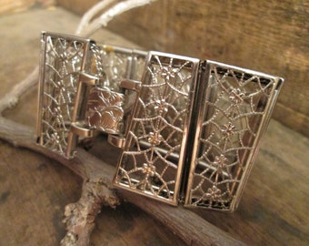 vintage silver tone chunky floral triangular filigree bracelet with chain
