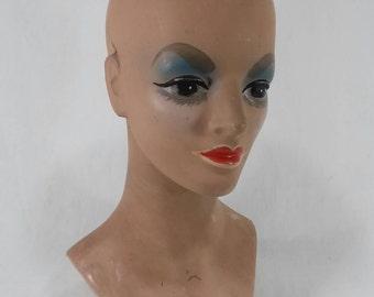 Vintage hard plastic woman's mannequin head shop display