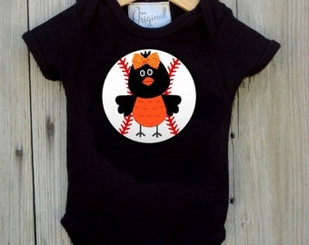 Baltimore Orioles Inspired Bodysuit for Baby Girl