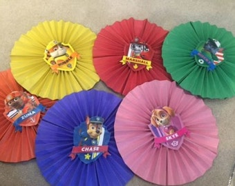 Paw Patrol Birthday Decorations ~ 6 Handmade Paper Fans