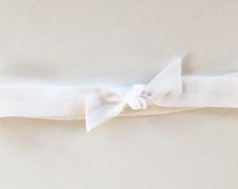 Solid White elastic headband