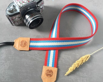 DSLR camera strap, Gray Red line Camera Strap, leather camera Strap ,Gift for her