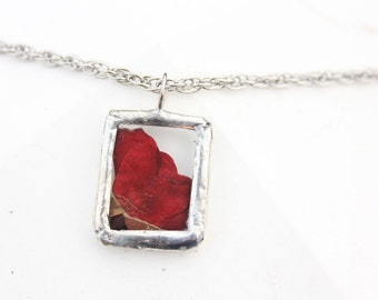 Red Tea Rose Necklace