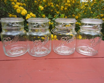 4 Vintage Ball Ideal Canning Jars Pint Size