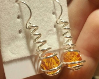 Sterling Silver and Swarovski Tangerine Orange Crystals, Wire Spiral Wrapped Caged Dangle Earrings