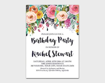 Birthday Party Invitation Printable Bright Floral Party Invite Birthday Invite Girl Birthday Invitation Colorful Floral 5x7 Digital File