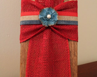 Rustic/Farmhouse/Patriotic Red Burlap and ribbon Cross on reclaimed wood - Ready to ship!