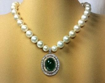 Vintage Marvella Pearls With Rhinestone Drop