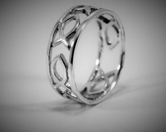 Sterling Silver Ichthus Ring / Christian Ring / Religious Ring / Fish Ring