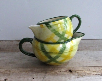 Two Plaid Vernonware Cream Pitchers Green Yellow 40s