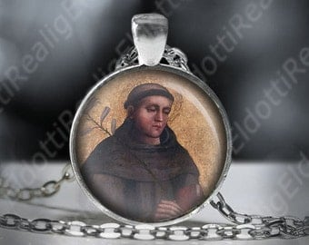 St. Bonaventure Catholic Necklace. Patron Saint Pendant. Catholic Necklace Medal Cabochon. FREE Shipping