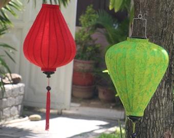 2 pcs x HOI AN silk lanterns  20'' (52 cm) - Lanterns for wedding decor - Garden decoration - Dark Red Cake