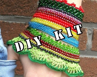 DIY kit, crochet beaded cuff bracelet, beaded bracelet, beaded jewelry, crochet bracelet, crochet jewelry, crochet cuff, Circaea Lutetia